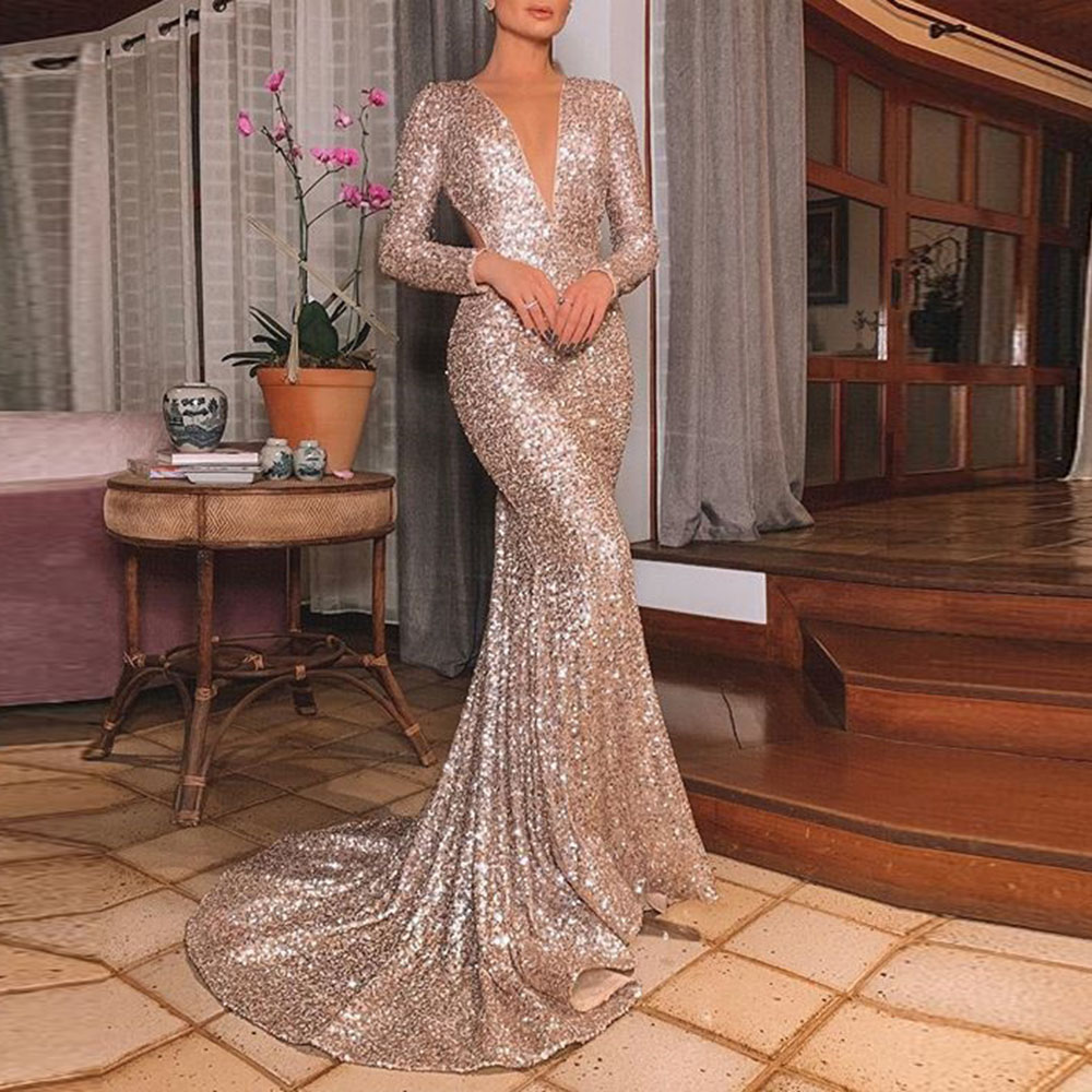Elegant Sliver Sequins Evening Dress Women Sexy V Neck Backless Mermaid Long Dresses Sparkly Wedding Party Formal Gowns Robe
