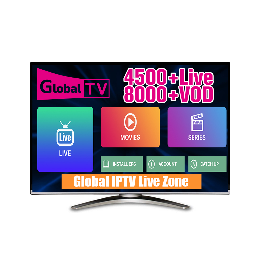 Global TV IPTV World Wide Channels 4500 Live 8000 VOD Europe France Italia spain Arabic FHD HD H 265 iptv subscription Test m3u in Set top Boxes from Consumer Electronics