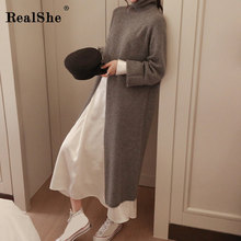 RealShe Long Sleeve Sweater Women Turtleneck Full Split Cashmere Autumn Winter Female Dress