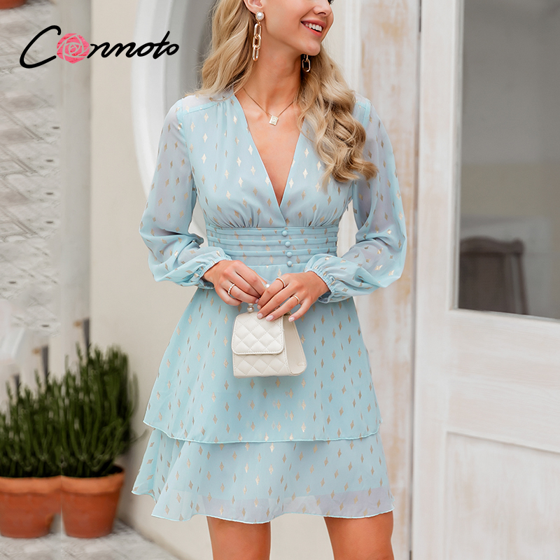 Conmoto Bronzing Casual Pleated Chiffon Dresses Women Deep V Sexy Femme Robe Dress Summer Beach Flounce Blue Dress  Vestidos