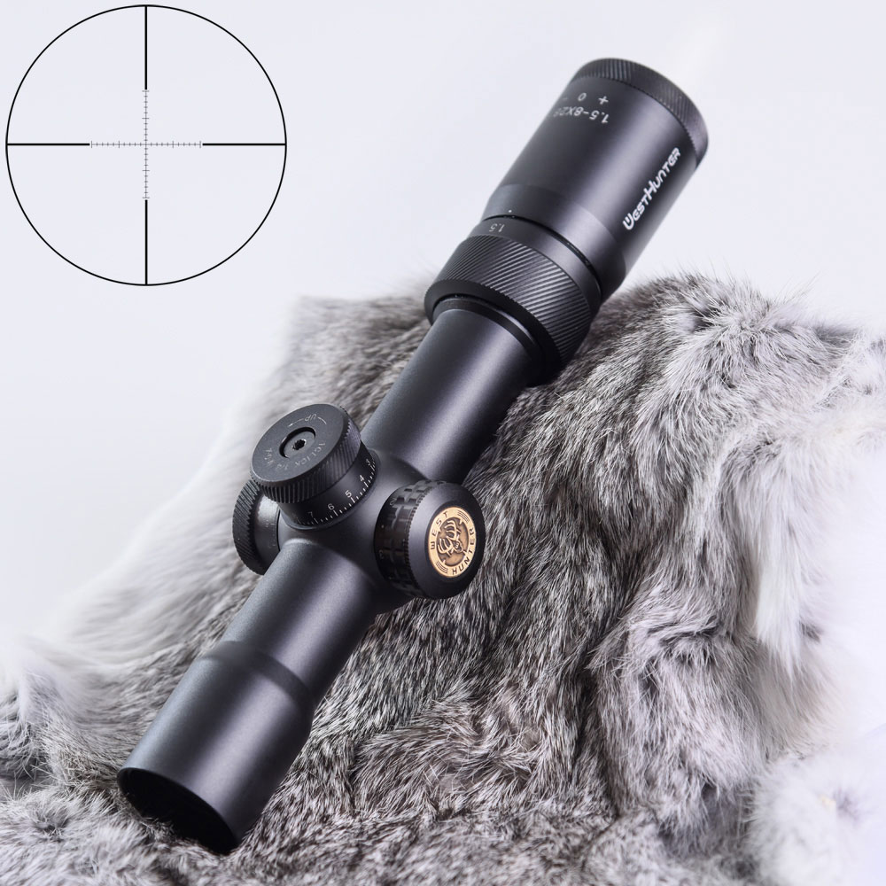 WESTHUNTER 1.5-8x28IR Compact Riflescopes Tactical Air Rifle Optics Sight Red Illuminated Reticle Hunting Scope Fit .308win