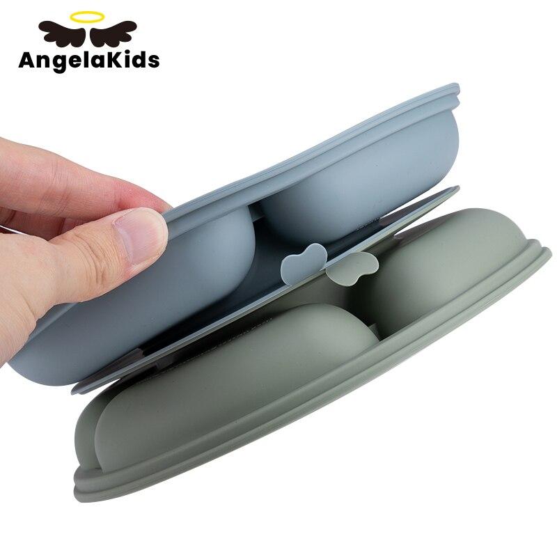 AngelaKids детская Нескользящая обеденная тарелка Водонепроницаемая тарелка без БФА детская чаша силиконовая посуда для кормления еды