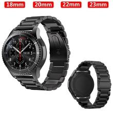 купить 22mm watch strap For Samsung Galaxy Gear S3 Frontier Watch band 46mm 42mm Classic Stainless Steel bracelet belt amazfit bip belt онлайн