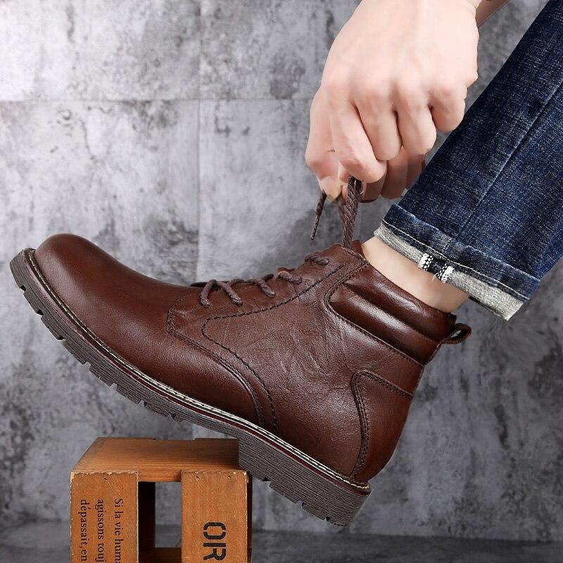 Теплые удобные модные зимние ботинки из натуральной кожи; Мужская зимняя обувь; Водонепроницаемые ботинки; Мужские шерстяные плюшевые теплые ботинки; Новинка 2019|Ботинки|   | АлиЭкспресс - Мужская обувь
