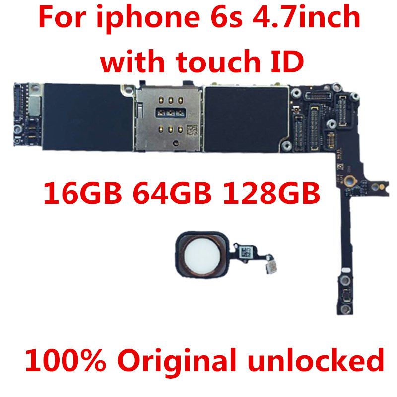 For <font><b>iPhone</b></font> <font><b>6S</b></font> <font><b>16GB</b></font> Motherboard,100% Original <font><b>unlocked</b></font> for <font><b>iphone</b></font> <font><b>6S</b></font> 16GBLogic boards With Touch ID <font><b>16GB</b></font> free shipping+tool+gift image