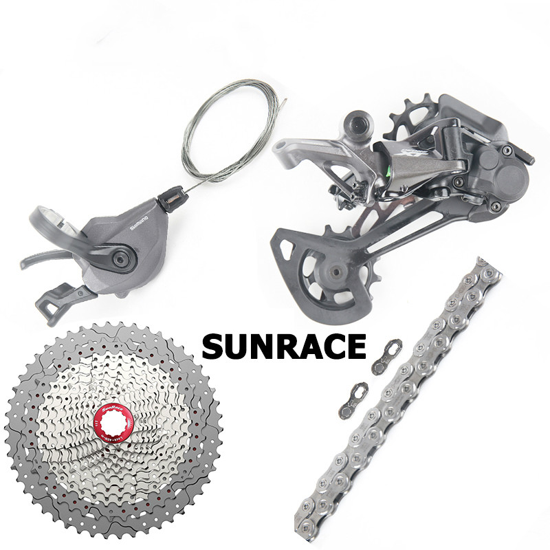 DEORE <font><b>XT</b></font> <font><b>M8100</b></font> Groupset Kit <font><b>12</b></font> Speed Trigger Shifter Lever Rear Derailleur Chain 11-50T Sunrace Cassette Freewheel image