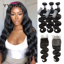 YYong 5x5 Closure With Bundles Remy Peruvian Body Wave 3/ 4 Bundles With Closure Natural Color 100% Real Human Hair 14-30inch