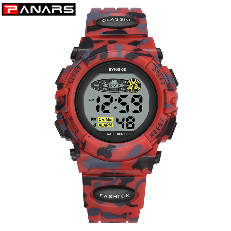 PANARS Army Children's Watches Sports Digital LED Luminous Alarm Clock Electronic Kids Boy Wristwatch Calendar Student Relogio