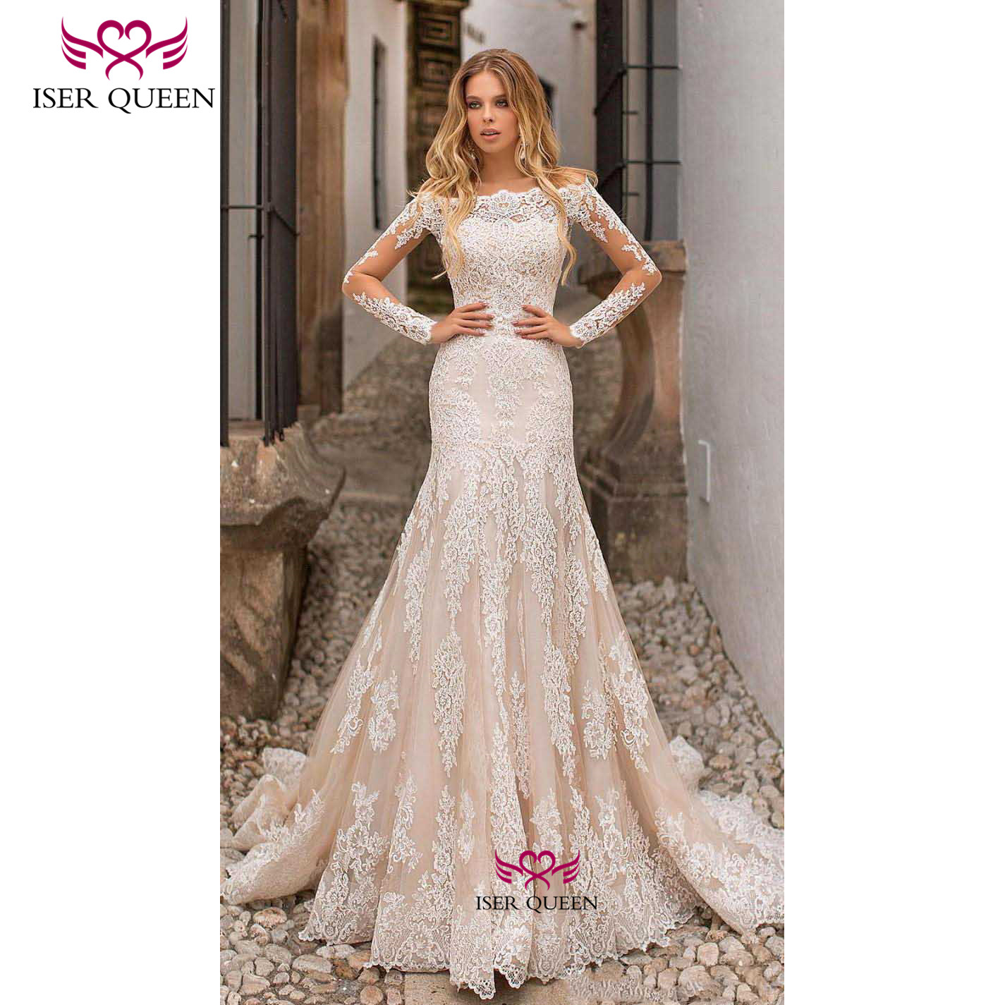 See-through Long Sleeves Embroidered Lace Wedding Dress 2 In 1 Mermaid Wedding Dresses Champagne Vestidos De Novia 2019 W0639
