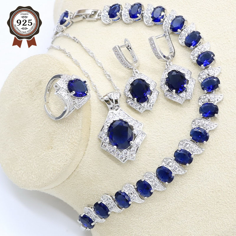 Jewelry-Set Bracelet Earrings Pendant Necklace Zircon Open-Ring 925-Silver Women Geometric