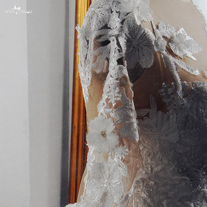 Image 5 - RSW1572 Robe De Mariee Illusion Terug Buttones Bloem Jurk Prinses Volledige Mouwen Bruidsjurken