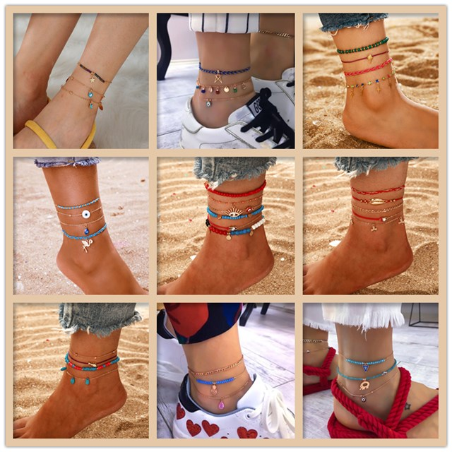2020 New Fashion Bohemia Anklets for Women Foot Accessories Summer Beach Bracelet Ankle On The Leg Female Ankle