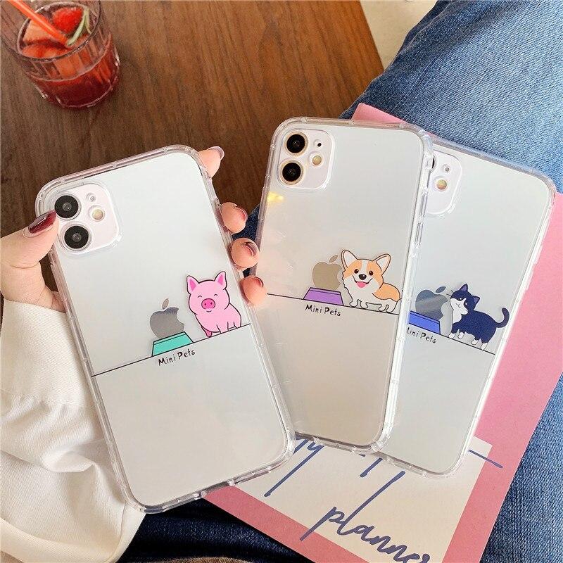 Bonito dos desenhos animados animal transparente caso de telefone para o iphone 12 11 pro max mini x xr xs 7 8 plus proteção da câmera capa traseira macia