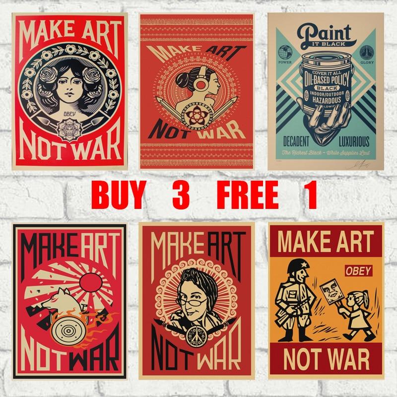 Fazer arte não guerra, retro papel kraft poster bar café escritório casa arte adesivos de parede