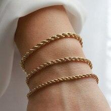 Vnox Charming Flash Verdreht Seil Kette Armbänder für Frauen Dame, Edelstahl Handgelenk Schmuck Länge Einstellbar