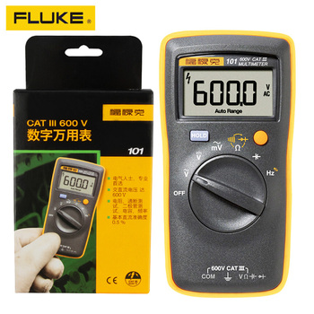 FLIUKE 100% Original 101 Mini Digital Multimeter Auto Range for AC/DC Voltage Resistance Capacitance Frequency Duty Cycle Tester