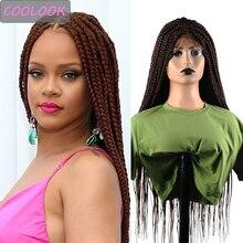 Ombre trenzado marrón frente de encaje pelucas con minimechones 30 pulgadas caja larga trenzas y pelucas para mujeres negras sintético encaje frente peluca Cosplay