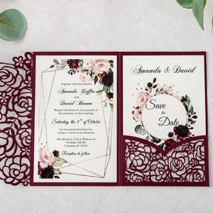 Image 3 - 100pcs 부르고뉴 새로운 로즈 결혼식 안내장 레이저는 결혼식/Quinceanera/생일을위한 꽃 주머니와 봉투를 가진 중공을 자른다