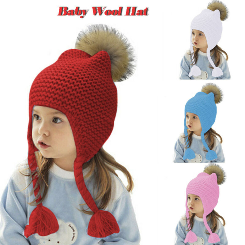 Cute Big Bowknot Infant Toddler Baby Girls Stretchy Soft Comfy Knitted Beanie Hat Warm Autumn Winter Cap Color : White+Pink