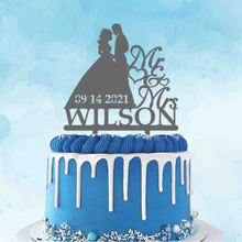 Personalized Wedding Topper Custom Mr Mrs Name Wedding Date Bride & Groom Silhouettes Wedding Anniversary Decoration Cake Topper
