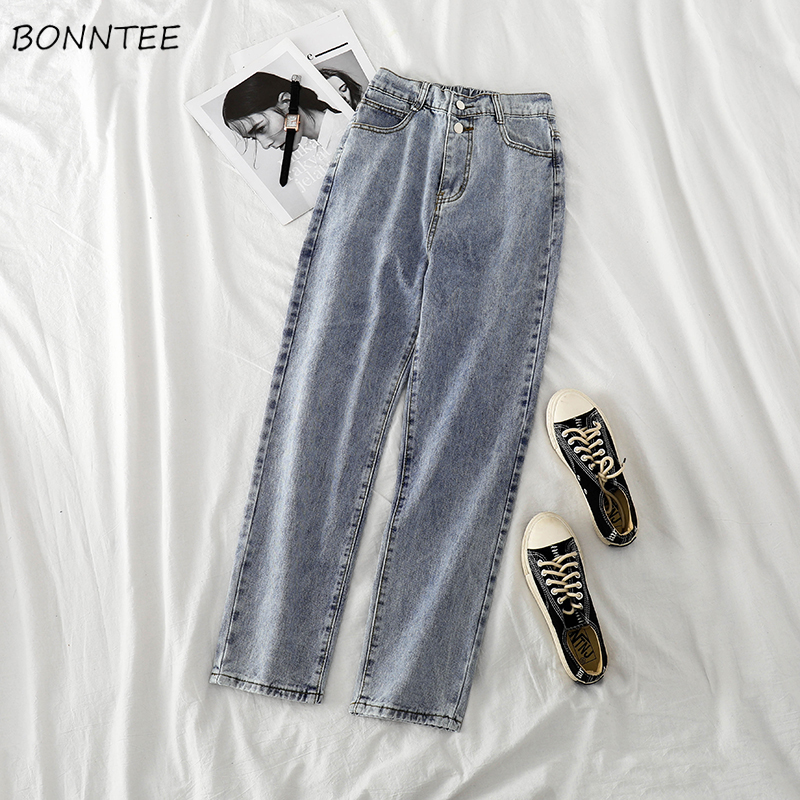 Jeans Women Vintage Blue High Waist Buttons Straight Denim Solid Casual Womens BF Trousers Fashionable Chic Daily All-match New
