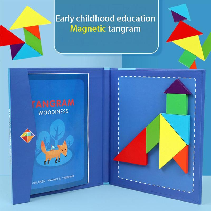 Wooden Magnetic Tangram Jigsaw Puzzle Game Toys For Children Montessori Learning Educational Toys