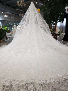 Image 2 - BGW HT565 Ball Gown Like White Wedding Dresses With Wedding Veil Illusion O neck Wedding Gown With Train 2020 New Fashion Design