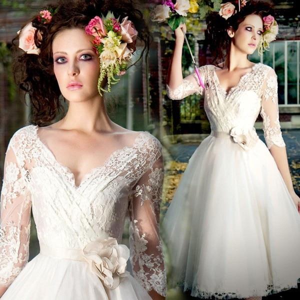 Fast Shipping In Stock Three Quarter Sleeves Handmade Flower  V-neck Lace Short Knee Length Wedding Dress Bridal Gown