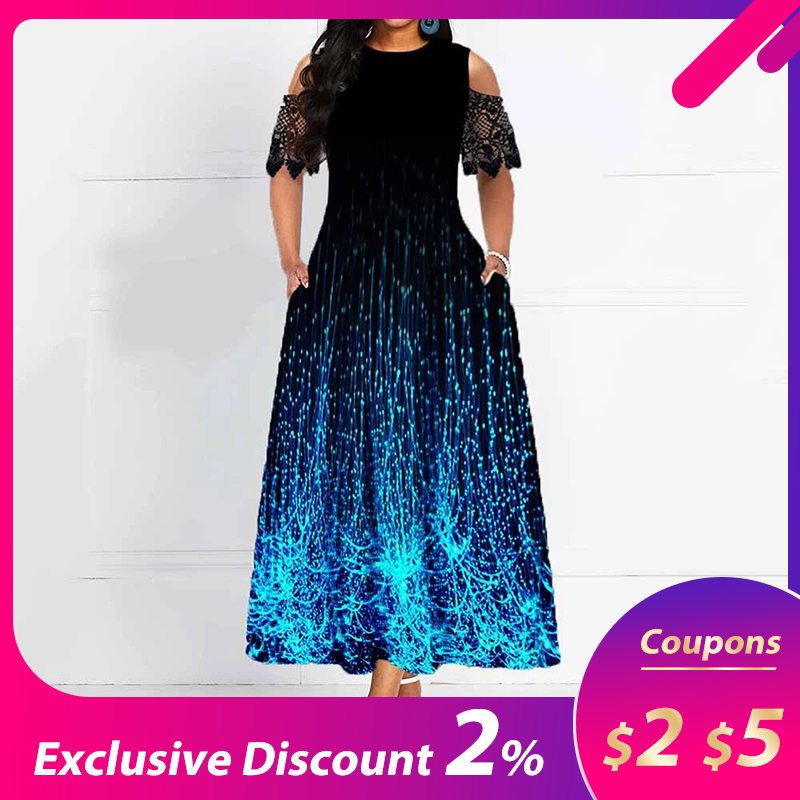 Elegant Party Vintage Pocket Dress 2019 African Women Fashion Plus Size Black Slim Lace Maxi Dresses A-line Ankle-Length Robe