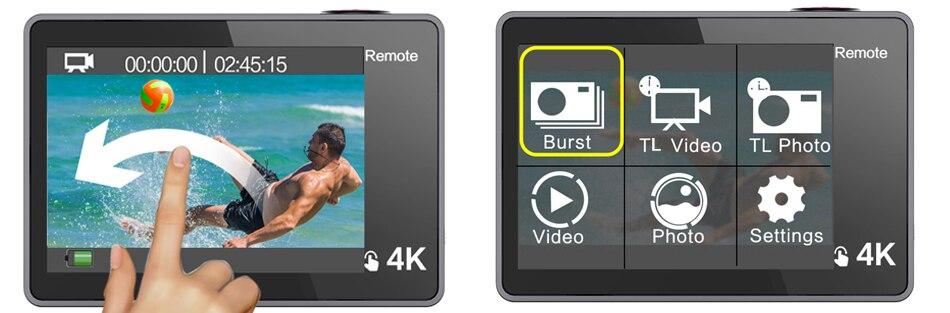 Geekam câmera de ação t1 tela sensível