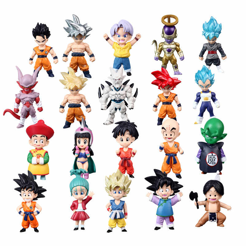 1 pçs/lote mini dragon ball z super saiyan filho, gohan goku figura dragonball, estatueta trunks vegeta chichi laiyi freeza, brinquedos