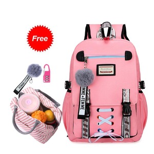 New 2020 school bags for teenage girls with lock Anti theft backpack women book bag junior high school bag youth leisure college