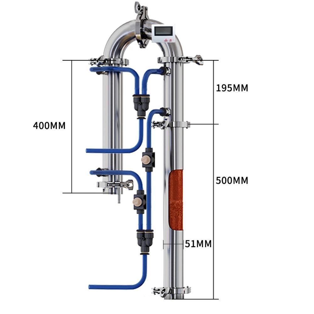 Tubular Distillation Column With Copper Net Alcohol Production Home Brewed Brandy Vodka Whisky Moonshine Distilled Equipment