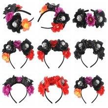 Sugarbay Day of The Dead Headband Fancy Dress Costume Bubble Skull Halloween Accessories Women Party Black Red Flower Crown nowodvorski bubble black red i kinkiet b