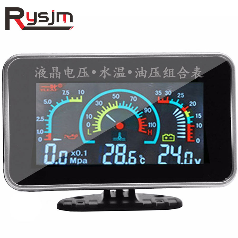 Universal Car 3 IN 1 LCD 12v/24v Truck Car Oil Pressure Gauge Voltmeter Voltage Water Temperature Combination Table With Sensor