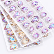 Glittery Colorful Tear Drop K9 Glass Rhinestones Glass Crystal Pointback Rhinestones Glue on Garment Crafts Jewelry Accessories