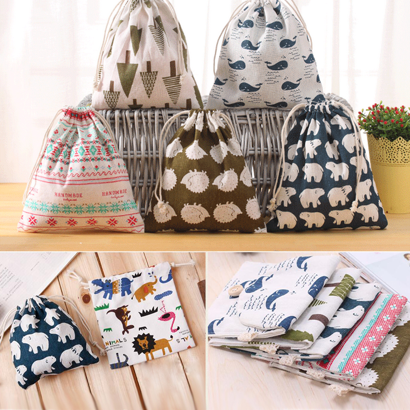 1Pcs Printed Cotton And Linen Drawstring Storage Bags For Underwear Shoes Travel Storage Bags Clothes Sundries Organizer 3 Size