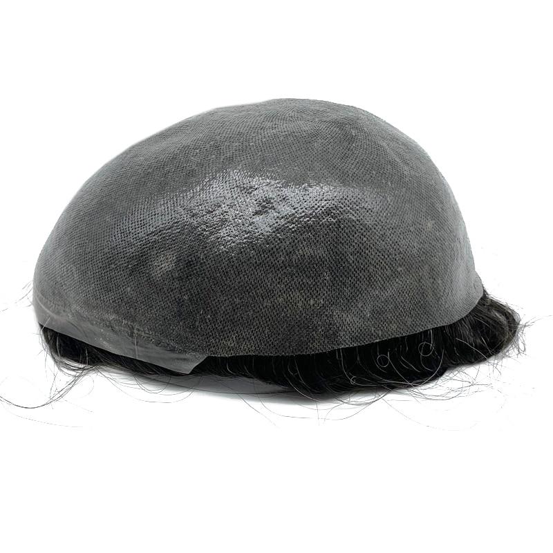 100% Human Hair Wig Men Natural Hairline Thin Skin Knot Hair Men Toupee