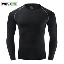 WOSAWE Men's Running T Shirt Long Sleeve Compression Gym Fitness Tshirt Training Jogging Dry Fit Shirts Sport Rashgard for Men