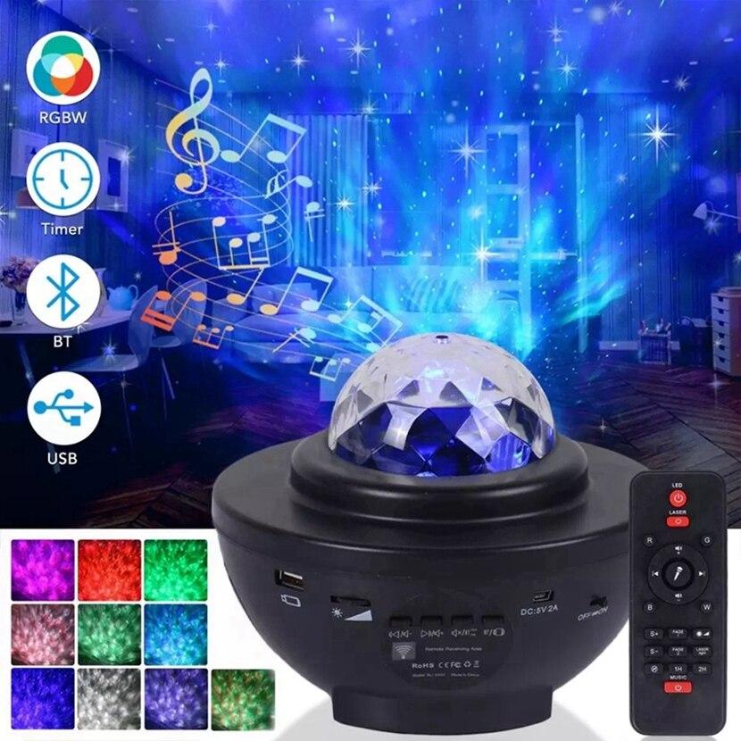 Colorido estrelado projetor luz céu galáxia bluetooth usb controle de voz leitor música estrela led noite romântica lâmpada projeção