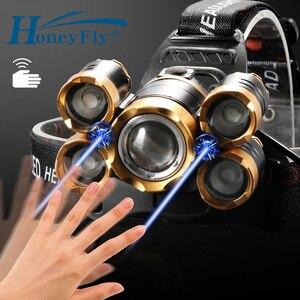 HoneyFly 7000 Lumens LED Headlamp 5 LED T6 IR Sensor Flashlight Torch Head Light 18650 Battery For Camping Fishing(China)
