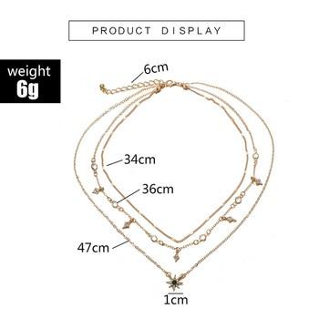 Laramoi Women's Necklace Multilayered Golden Clavicle Chain Stars Geometric Rhinestone Pendant Party Jewelry 4