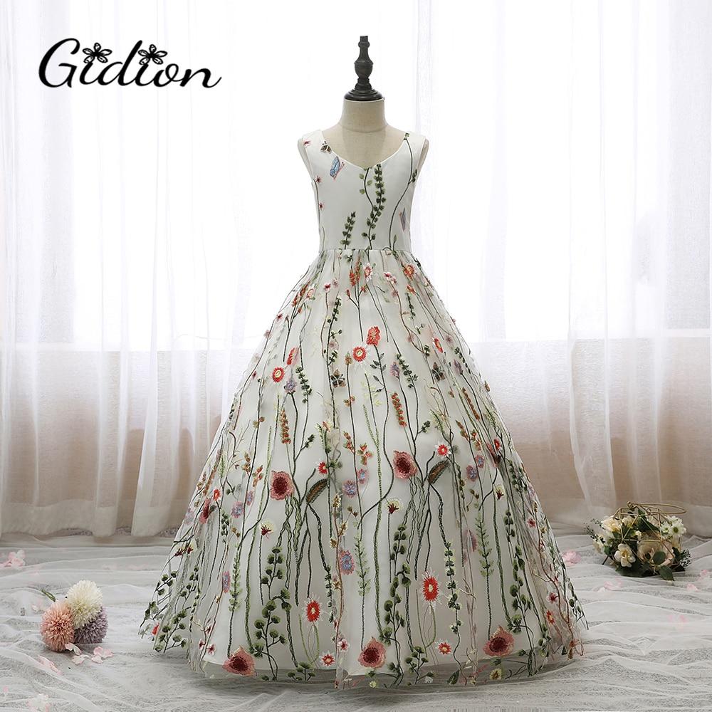 Blume Mädchen Kleider Für Partei Und Hochzeit Kinder Druck Kleider Sleeveless Backless Bogen Kommunion Abend Mädchen Prinzessin Kleider