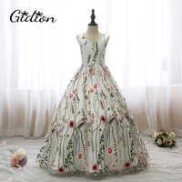Flower Girl Dresses For Party And Wedding Kids Print Dresses Sleeveless Backless Bow Communion Evening Girl Princess Dresses