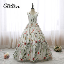 Flower Girl Dresses For Party And Wedding Kids Print Dresses Sleeveless Backless Bow Communion Evening Girl Princess Dresses