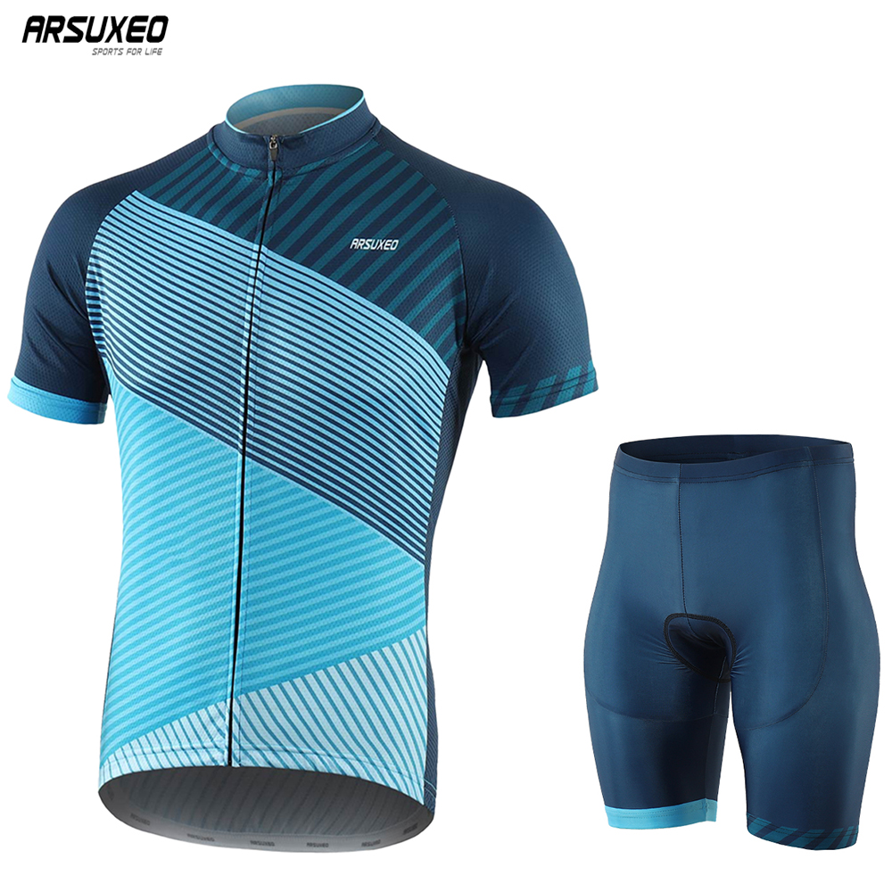 ARSUXEO Men Summer Cycling Sets Pro Quick Dry Short Sleeve Cycling Jersey Bike Shorts Padded MTB Suit Bicycle Clothing Z10