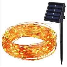 Светодиодная гирлянда на солнечной батарее медный провод водонепроницаемая
