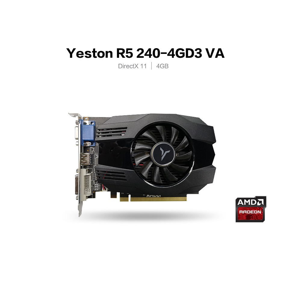 Yeston R5 240 - 4G D3 VA Graphic Card DirectX 11 Video Card <font><b>4GB</b></font>/64bit 1333MHz Low Power Consumption <font><b>GPU</b></font> 2 Phase image