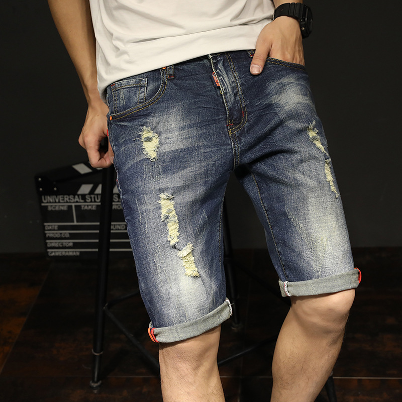 Summer Thin Section Elastic Denim Shorts Loose And Plus-sized Men's Short Shorts Youth Jeans Breeches Korean-style Trend