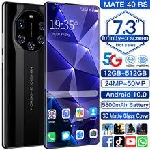 Cectdigi novo telefone mate40 rs 7.3 polegada 1440*3200 12gb + 512gb duplo sim + microsd 5800mah android 10.0 face dedo id 5g smartphone
